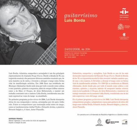 Guitarr�simo apresenta o tango de Luis Borda no Instituto Cervantes deBras�lia