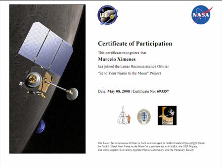Certificado de Viagem só de ida à Lua