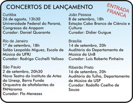 CONCERTOS DE LANÇAMENTO DA COLETÂNEA SBME